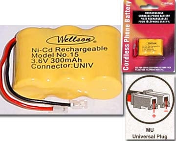 29-15 3.6V 300mAh Cordless Phone Battery Ni-CD