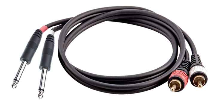 "16-7239  Dual 1/4"" Mono Male to 2 RCA Male Cable"
