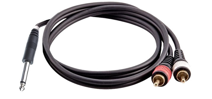 16-7243 1/4 Inch Mono to 2 RCA Male Cable