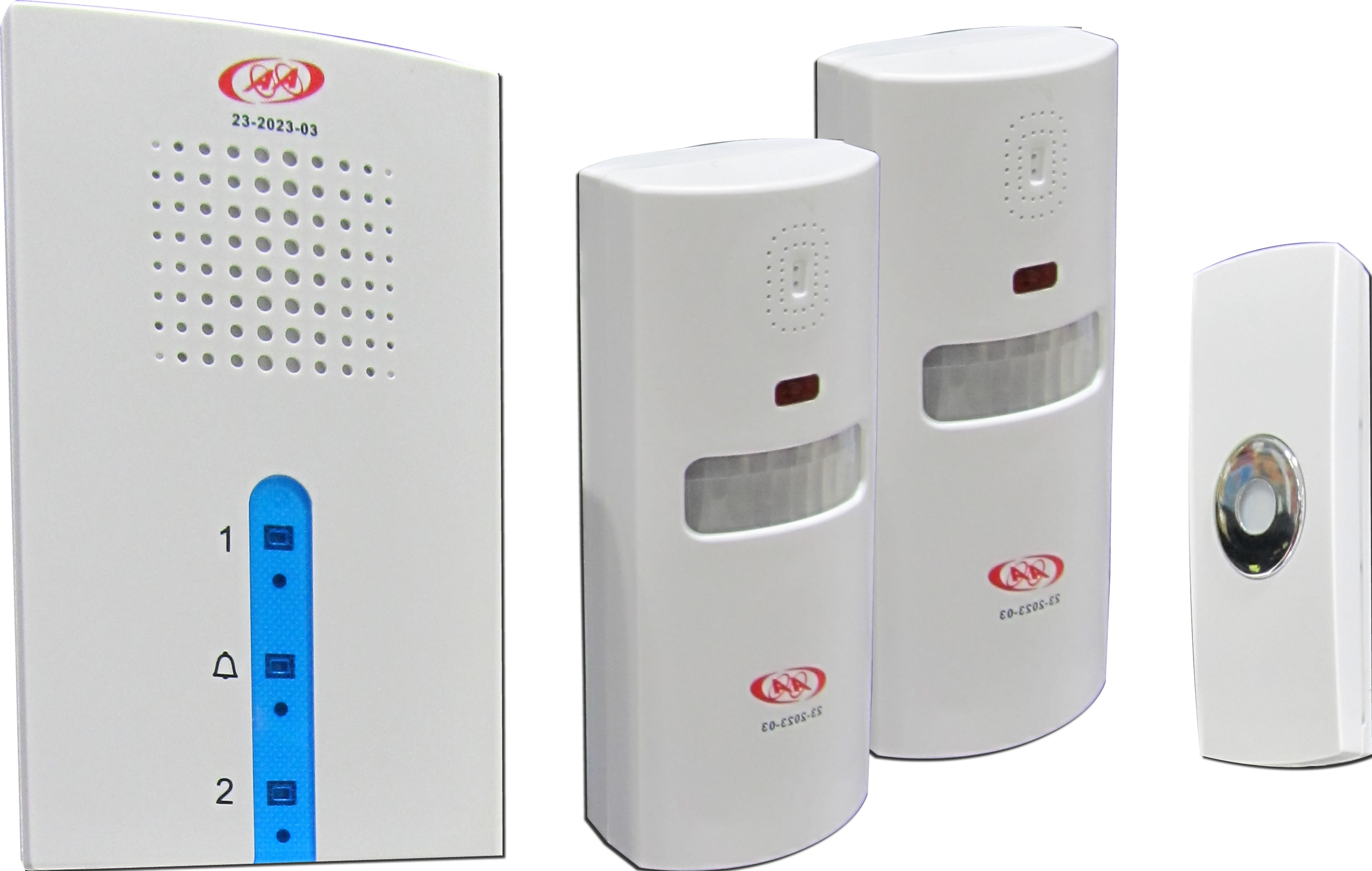 23-2023-03 Infrared Alarm Wireless Doorbell Kit - 1*Receiver, 1*Remote & 2*Infrared Sensor