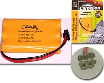 29-28 3.6V 800mAh Cordless Phone Battery Ni-CD