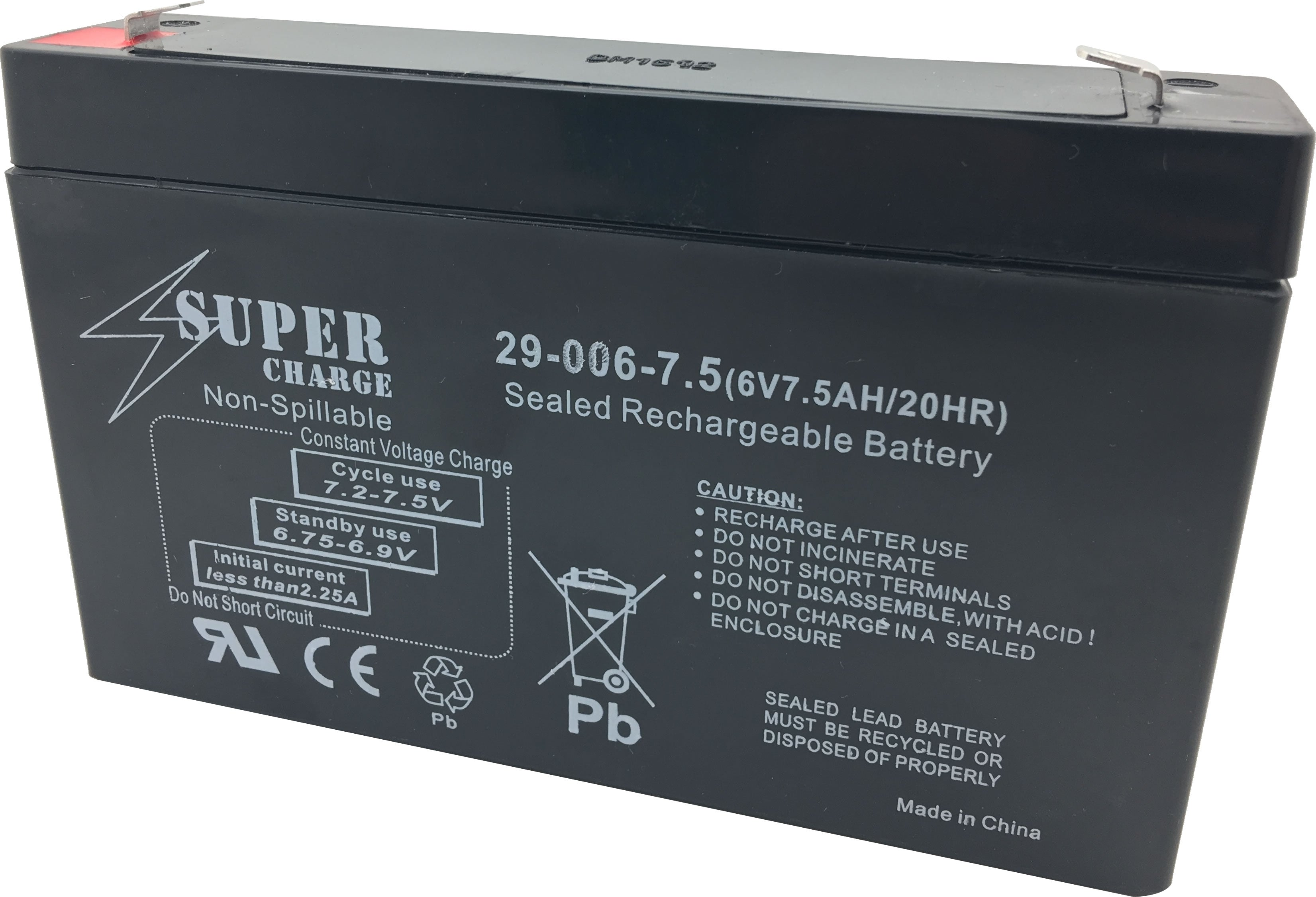 29-006-7.5 Rechargeable Battery 6V 7.5AH 20HR