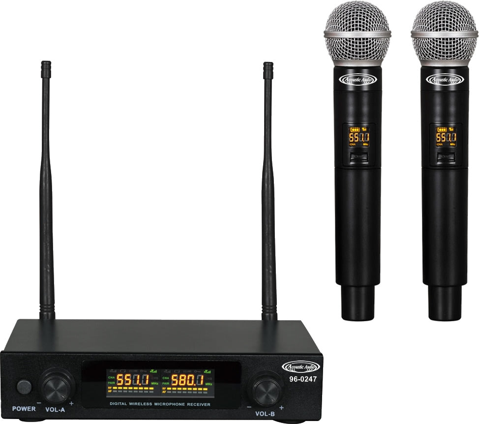 96-0247 Compact UHF Professional Wireless Microphone Systems - 2*Wireless Microphones