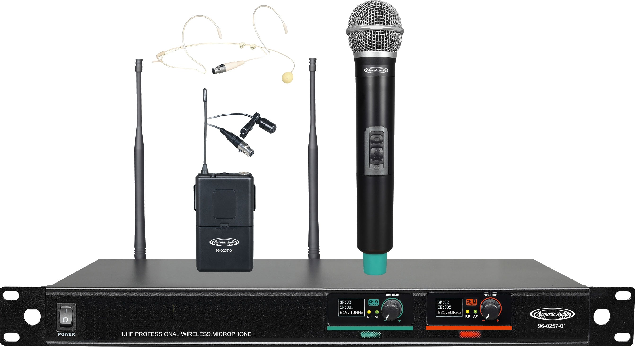 96-0257-01 UHF Professional Wireless Microphone Systems - 1*Wireless Microphone & 1*Headset