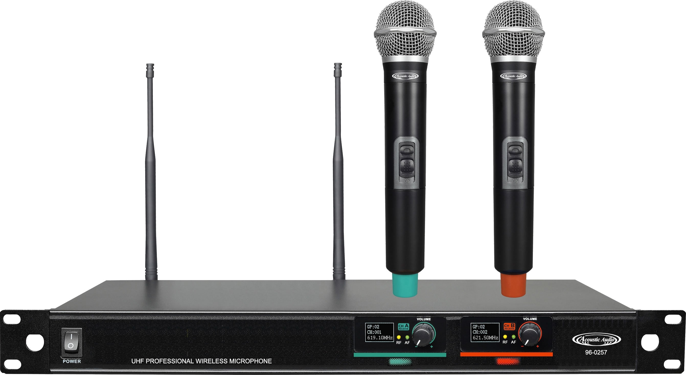 96-0257 UHF Professional Wireless Microphone Systems - 2*Wireless Microphones