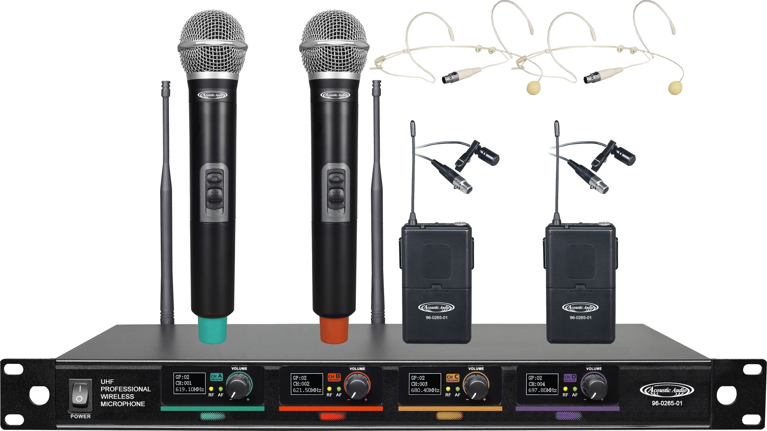96-0265 UHF Professional Wireless Microphone Systems - 4*Wireless Microphones
