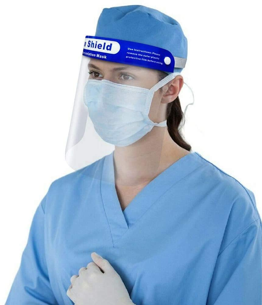 Reusable Plastic Safety Transparent Full Face Shield - Breathable & Dustproof