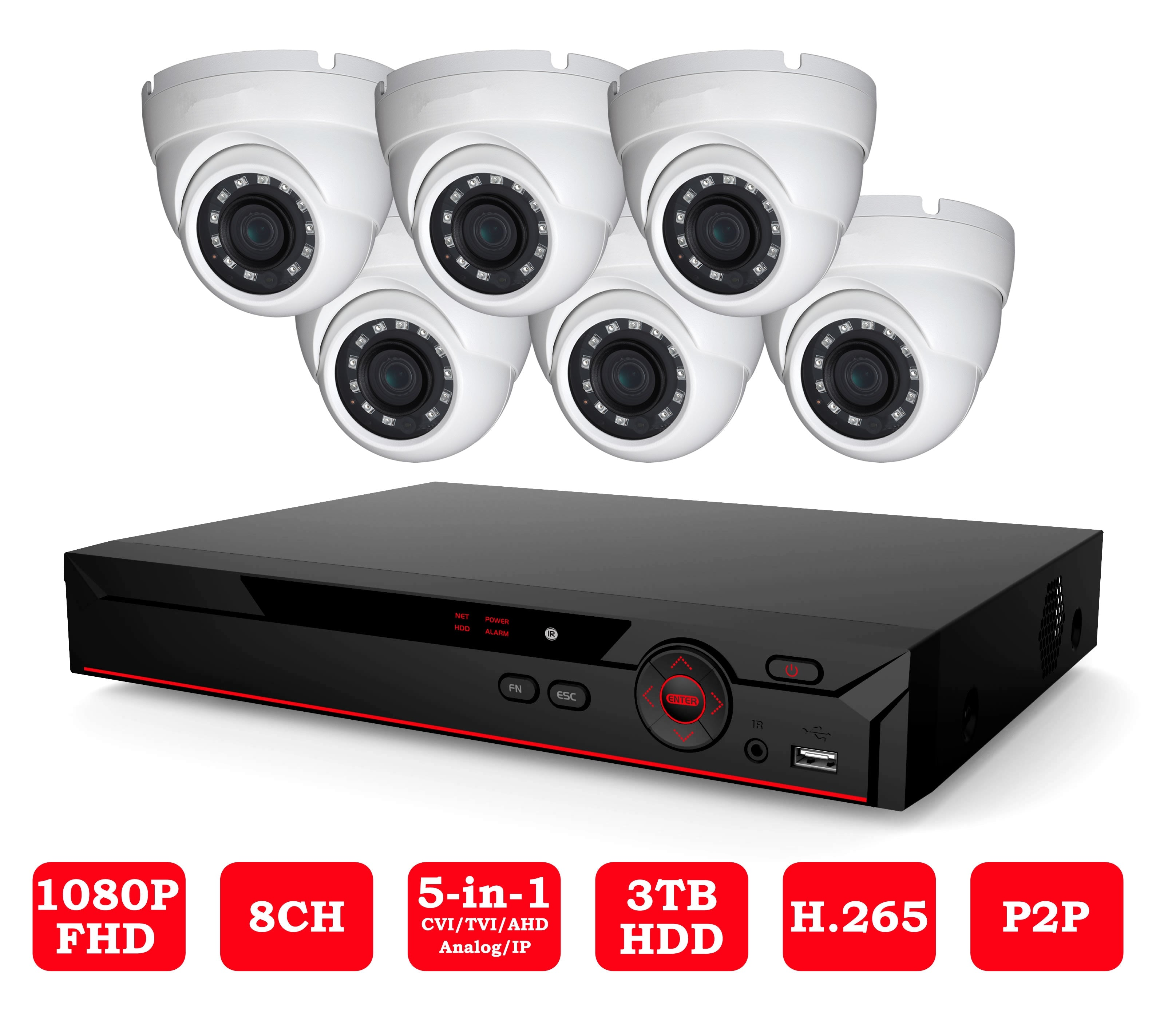 23-4XV51A08-6C 2MP HDCVI 8 Channel 6 Cameras Indoor/Outdoor Package