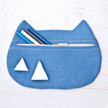 Load image into Gallery viewer, Cat Cosmetic Bag Blue Linen