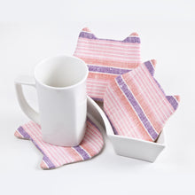 Load image into Gallery viewer, Pink Striped Absorbent Cat Coasters Set of 4, Fabric Tea Mats, Cat Lover Gift