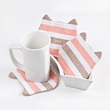 Load image into Gallery viewer, Striped Absorbent Cat Coasters Set of 4, Fabric Tea Mats, Cat Lover Gift, Coral Brown White