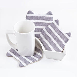 Gray White Coasters, Striped Absorbent Cat Coasters Set of 4, Fabric Tea Mats, Cat Lover Gift