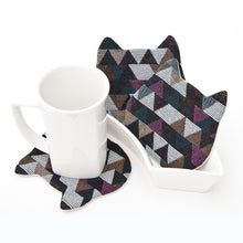 Load image into Gallery viewer, Cat Coasters for Cups Set, Cat Lover Gift, Geometric Decorative Coasters, Kitchen Decor, Drinkware Birthday Gift, Barware Housewarming Gifts