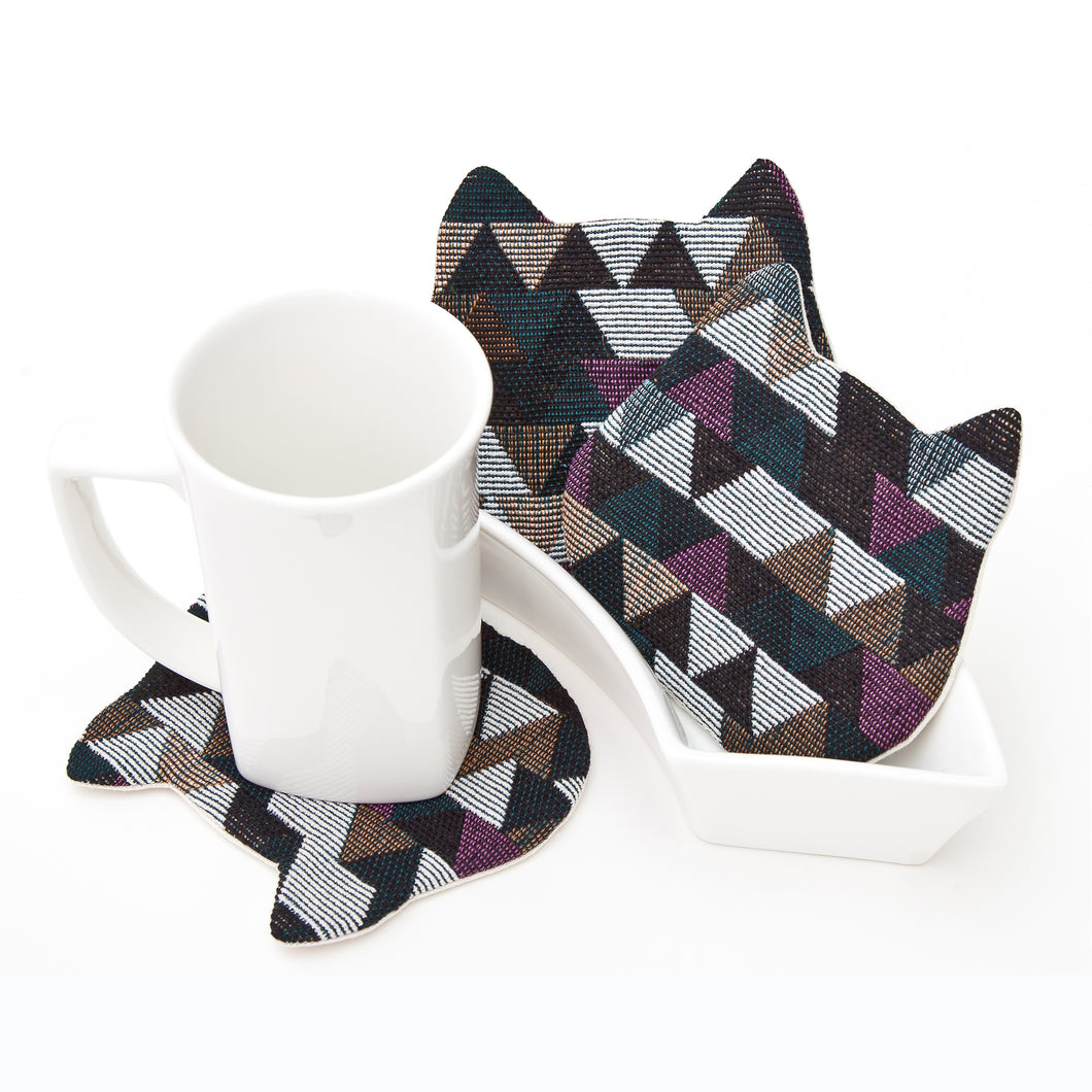 Cat Coasters for Cups Set, Cat Lover Gift, Geometric Decorative Coasters, Kitchen Decor, Drinkware Birthday Gift, Barware Housewarming Gifts