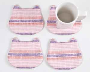 Pink Striped Absorbent Cat Coasters Set of 4, Fabric Tea Mats, Cat Lover Gift