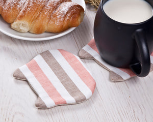 Striped Absorbent Cat Coasters Set of 4, Fabric Tea Mats, Cat Lover Gift, Coral Brown White