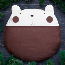 Load image into Gallery viewer, Bear Pillow, Brown Nursery Decor, Linen Round Cushion