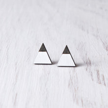 Load image into Gallery viewer, Mountain White Black Stud Earrings, Triangle Studs