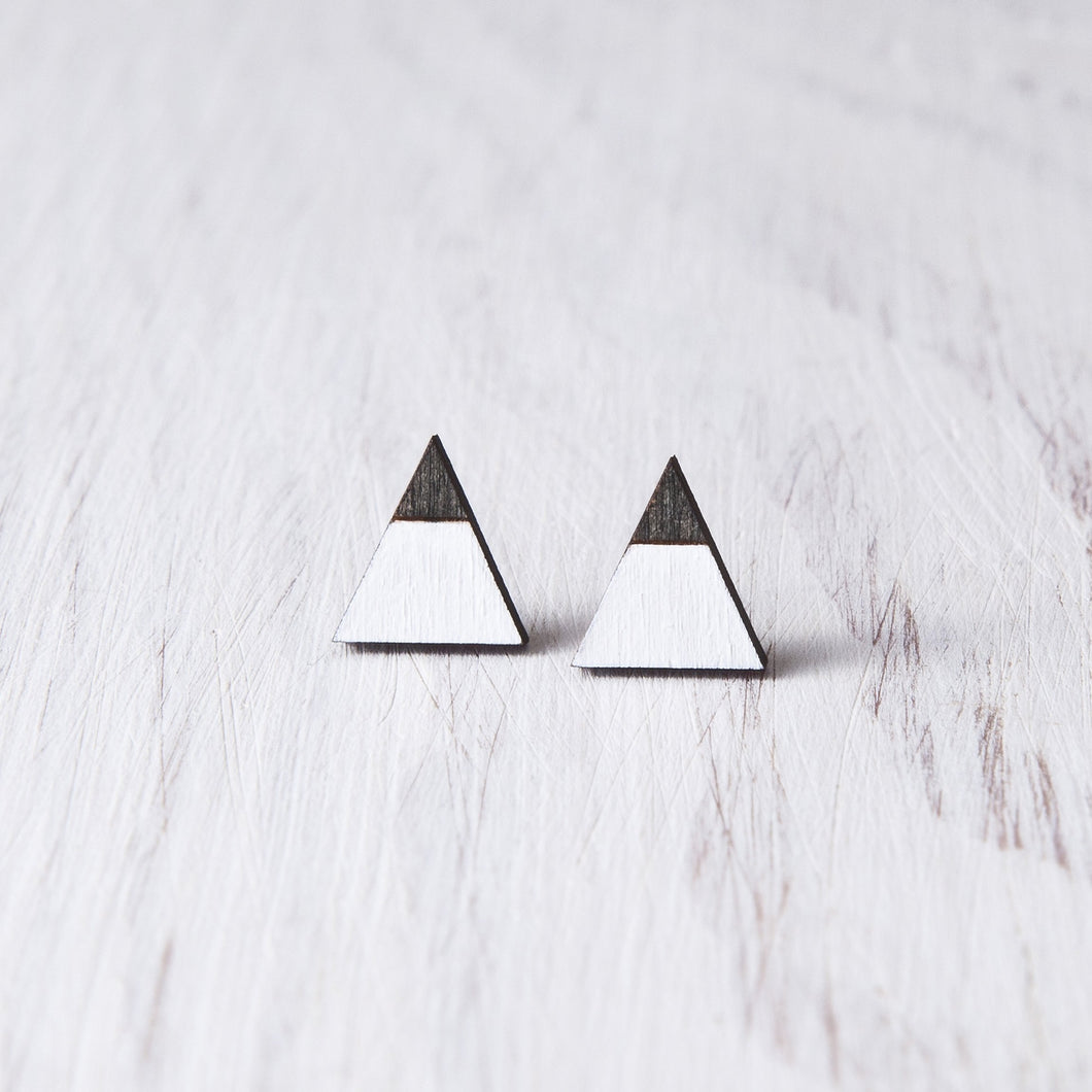Mountain White Black Stud Earrings, Triangle Studs