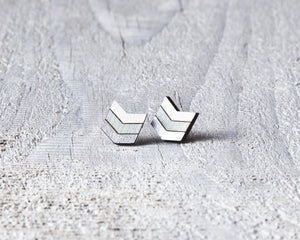 Silver Blue White Arrow Studs