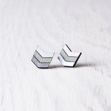 Load image into Gallery viewer, Boho Arrow Earrings, Silver Blue White Geometric Studs