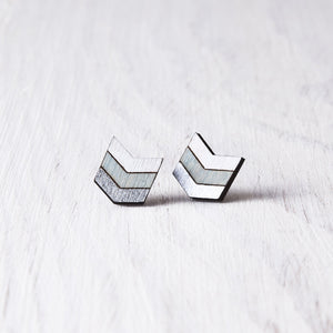 Boho Arrow Earrings, Silver Blue White Geometric Studs