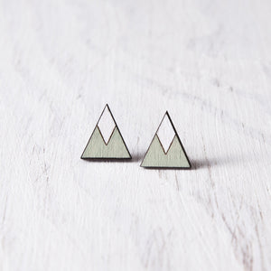 Wooden Mint White Mountain Stud Earrings