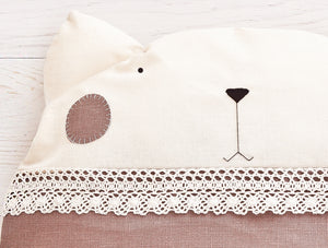 Round Cat Pillow, Beige Cushion, Decorative Baby Pillow
