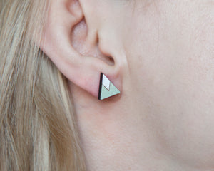 Mint White Mountain Stud Earrings