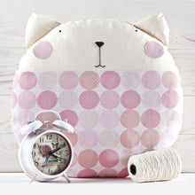 Load image into Gallery viewer, Cat Decorative Pillow, Pink Nursery Decor, Dotted Round Cushion