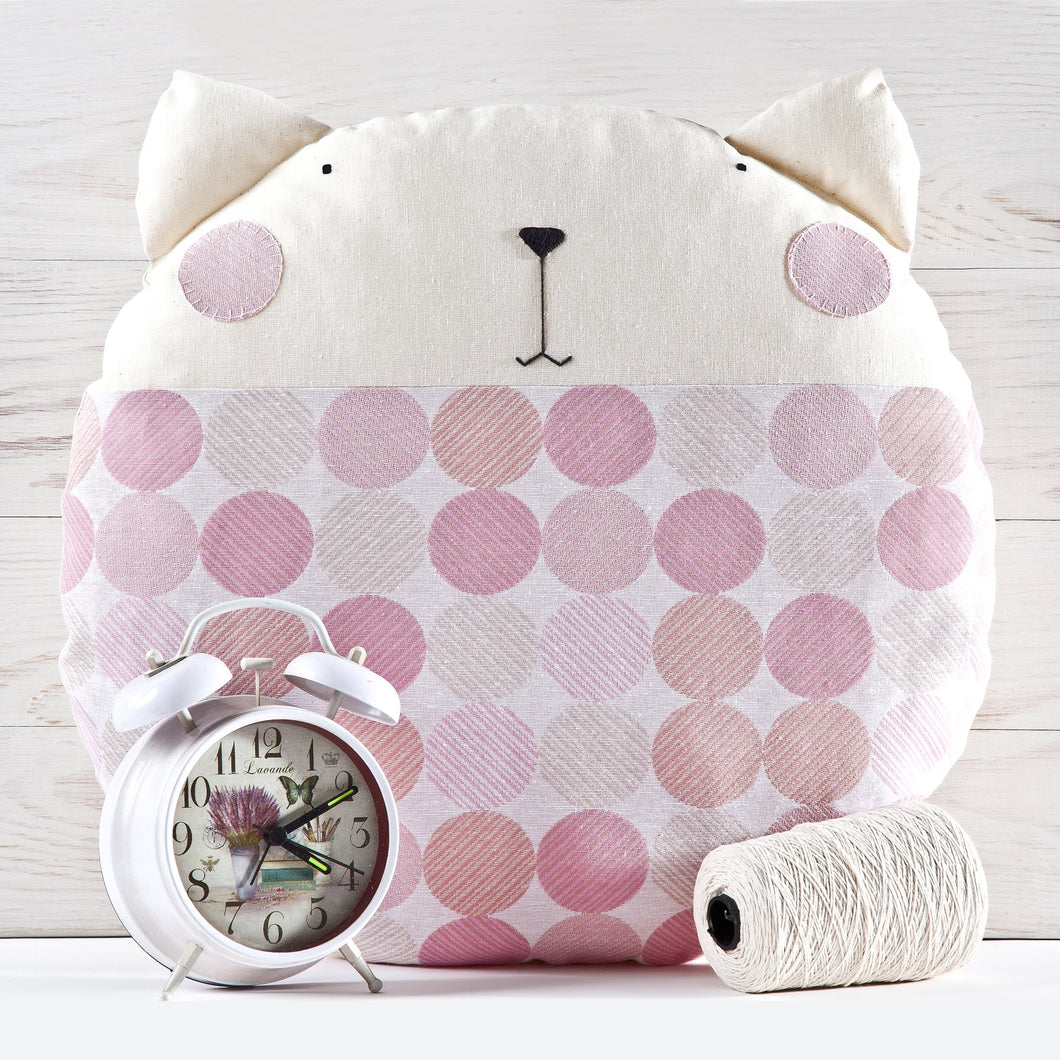 Cat Decorative Pillow, Pink Nursery Decor, Dotted Round Cushion