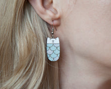 Load image into Gallery viewer, Mermaid Blue Cat Dangle Earrings