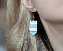 Load image into Gallery viewer, Dangle Cat Earrings Blue White