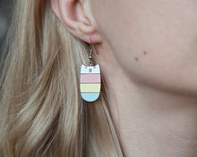 Load image into Gallery viewer, Cat Earrings Pink Yellow Blue