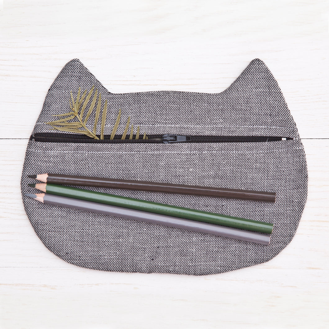 Cat Cosmetic Bag Gray