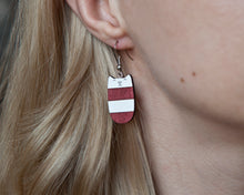 Load image into Gallery viewer, Dangle Cat Earrings Red White