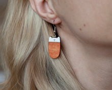 Load image into Gallery viewer, Orange Cat Dangle Earrings