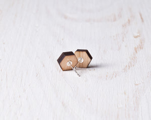 Hexagon Stud Earrings Blue White