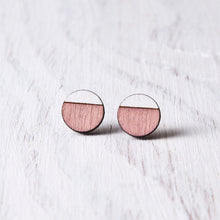 Load image into Gallery viewer, Circle Stud Earrings Pink White