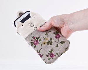 Floral Case for iPhone 11 Pro Max, Custom Linen Cat iPhone XS Max Sleeve