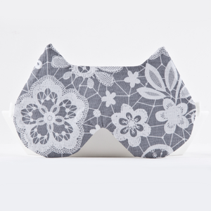 Gray Floral Cat Sleep Mask
