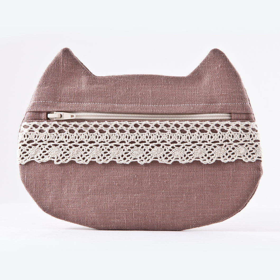 Cat Cosmetic Bag Beige Linen