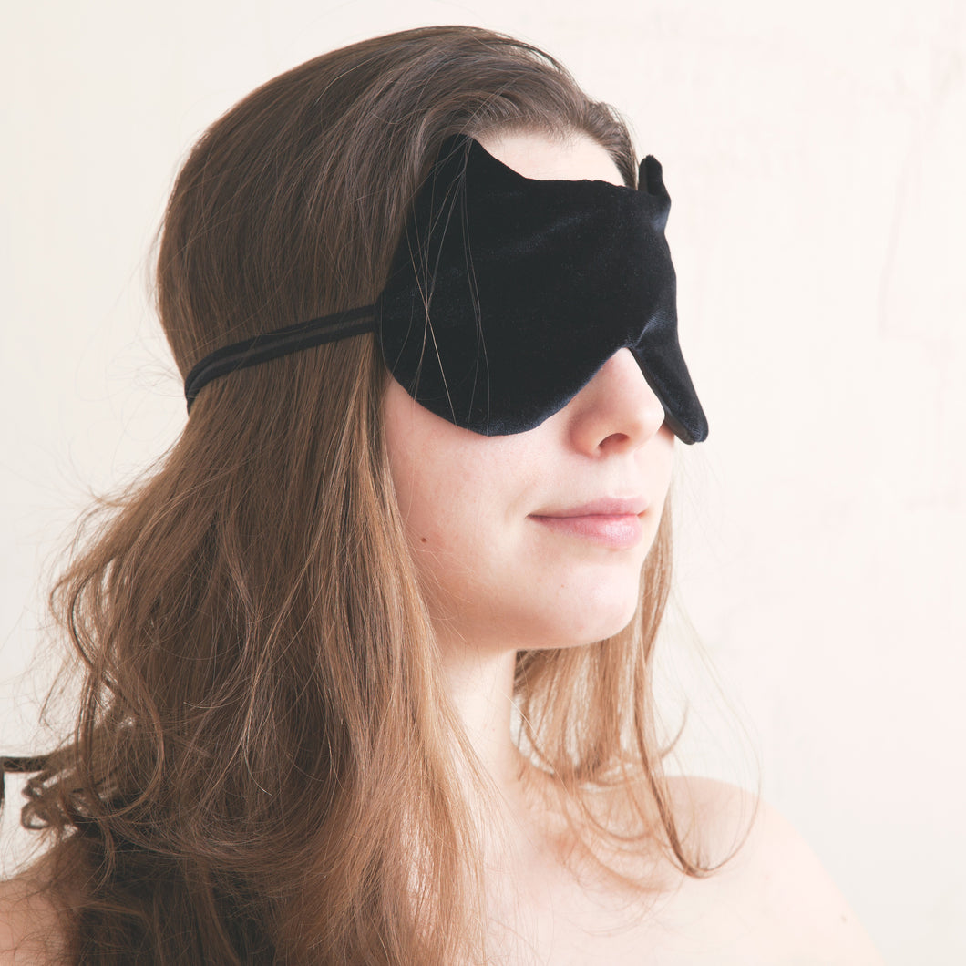 Black Velvet Cat Sleep Mask