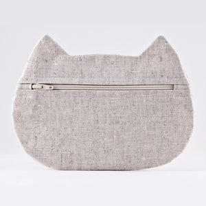 Cat Cosmetic Bag White Linen