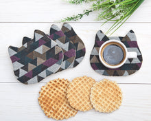 Load image into Gallery viewer, Absorbent Cat Coasters Set of 4, Fabric Tea Mats, Housewarming Gifts