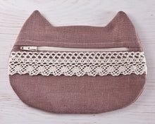 Load image into Gallery viewer, Cat Cosmetic Bag Beige Linen