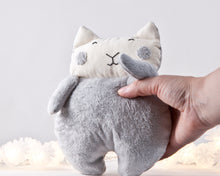 Load image into Gallery viewer, Gray Fluffy Plush Cat Toy, Stuffed Toy Girl Nursery Decor