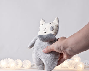 Gray Fluffy Plush Cat Toy, Stuffed Toy Girl Nursery Decor
