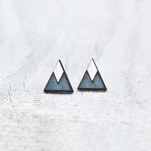 Load image into Gallery viewer, Blue White Tribal Geometric Earrings, Triangle Studs, Elegant Minimalist Jewelry