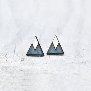 Blue White Tribal Geometric Earrings, Triangle Studs, Elegant Minimalist Jewelry